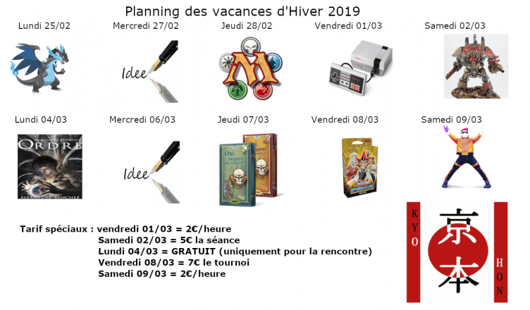 Planning, Février, Vacance hiver