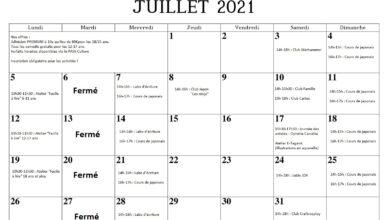 Programme de juillet 2021
